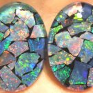 OPAL  MOSAIC TRIPLETS  FOR LARGE CUFF LINKS  2- 25x18mm