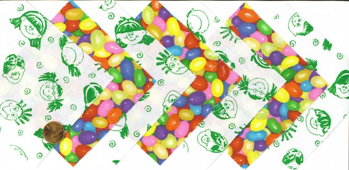 4 Inch Kids Love Jelly Beans Fabric Quilt Squares Kit 20 sqs
