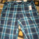 NEW AEROPOSTALE JUNIORS WOMENS CAPRIS BLUE TURQUOISE PLAID SIZE 3 4 3/4