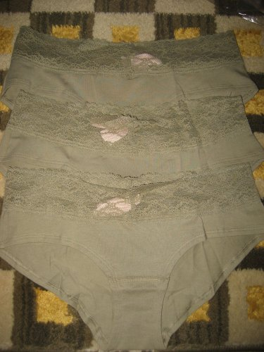 Lot 3 Victoria's Secret Cotton Lingerie Lace waist Hiphugger Panty green small s