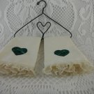 Miniature Hand Towels On Black Metal Hanger Heart Shaped Beige and Green tblpo1