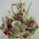 Ceramic Shabby Rose Mini Teapot Set Tea Time Ten Piece Set Collectible tblww1