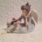 Vintage Angelic Angel Hand Painted Porcelain Figurine with Pink Rose tblds1