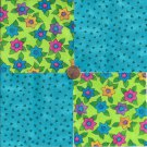 Bright Whimsy in Blue   4 inch 100 % Cotton Novelty Fabric Quilt Squares TC1