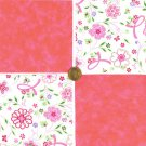 Breast Cancer Ribbons and Flowers Pink  Fabric 100% Cotton Squares  A8  zw1