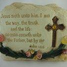 Resin Stone Bible Verse Crucifix Statue Religious Home Decor Collectible tblcw1
