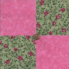 Red Roses on Green Vine Pink 100% Cotton Fabric Quilt Square Blocks GE
