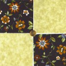 Beautiful Flowers with Beige  Fabric 100% Cotton Quilt Craft Squares zw1