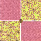 """Pretty Pink Flowers and Polka Dots 4"""" 4 inch Fabric Quilt Squares LW1"""