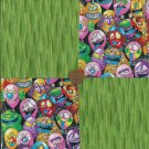 Spot Monsters Ghouls and Slime Cotton Novelty Fabric Quilting Squares  sz1