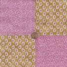 Unique Gold and Pink Medley  4 inch Cotton Fabric Squares wz1
