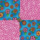 Whimsy in Pink   4 inch 100 % Cotton Novelty Fabric Quilt Squares TC1