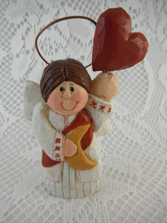 Resin Small Angel Red Heart and Moon Statue Eddie Walker tblwk1