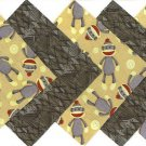 20 4 inch Furry Little Sock Monkey Fabric Quilt Squares OSR5