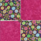 4 inch Hard Candy Sweets Dark Pink Fabric Squares 100% Cotton osr3