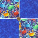 Seaside Crab Crabs Crabby Blues Colorful 100% Cotton Fabric Quilt Squares GE