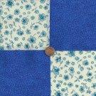 Beautifully Blue Flowers 4 inch Cotton Fabric Craft Blocks Squares PB1