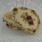 Dezine Shabby Rose Heart Shaped Trinket Box Jewelry Earrings Hand Painted tblak1