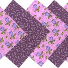 20 4 inch Lilac Hearts Flowers 100% Cotton Fabric Quilt Squares OSR5