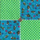 Sweet Bee in Green  4 inch 100% Cotton Novelty Fabric Quilt Squares TB1