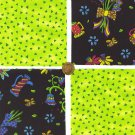 4 inch Whimsy Floral Green Cotton Fabric Novelty Quilt Squares zi1