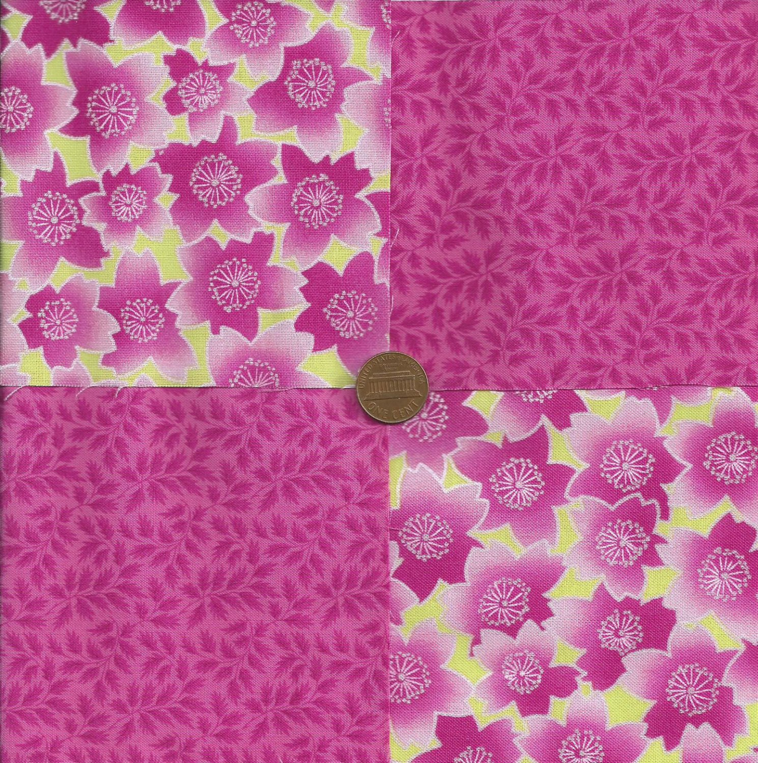 Hot Pink Floral Leaves 4 inch Fabric Quilt Squares  Block ms1