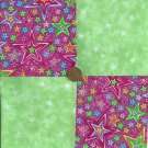 Multi Stars Green Rainbow  Fabric 4 inch Cotton Fabric Squares  zL1