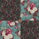 Larger Gorgeous Florals with a Twist Fabric Novelty Quilt SquareS  ef