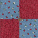 Ladybug Daisy Lady Bugs 100% Cotton Fabric Quilt Square Blocks kit  EU