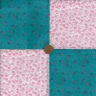 TEAL and PINK FLOWERS FABRIC QUILT Craft SQUARES KIT zc1