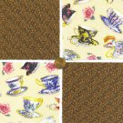Teacups and Tea Leaves  4 inch 100% Cotton Novelty Fabric Quilt Squares YW1