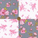 Breast Cancer Ribbon and Roses Dots Fabric 100% Cotton Squares my3