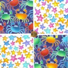 Starfish Crab Crabs Crabby Blues Colorful 100% Cotton Fabric Quilt Squares GE