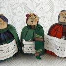 Three Bean Bag Christmas Carolers Plush Stuffed Figurines Multi-Colored tblru1