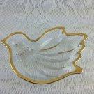 Bird Shaped Glass With Gold Trim Candy Trinket Dish tbljr2