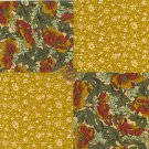 Simply Golden Gorgeous Flowers 100% Cotton Fabric Quilt Squares  Blocks my8