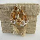 Raffia Box with Shell Closure Natural Color Seashell Tassels Zodax tblct1
