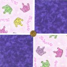 Royal Purple Princess Tiara Crown  4 inch 100% Cotton Novelty Fabric Squares SO1