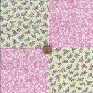 Purest Pink Rosebuds  4 inch Fabric Novelty Quilt Square  EF