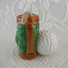 Vintage Ceramic Golf Ball and Bag Salt and Pepper Shakers tblxs3