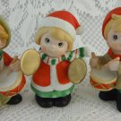 Homco Three Musicians Christmas Caroling Drums Cymbals Decorations Cute tbleu1
