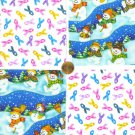Marching Snowmen Snowman with Colorful Ribons Cotton Fabric Squares Blocks ZS1