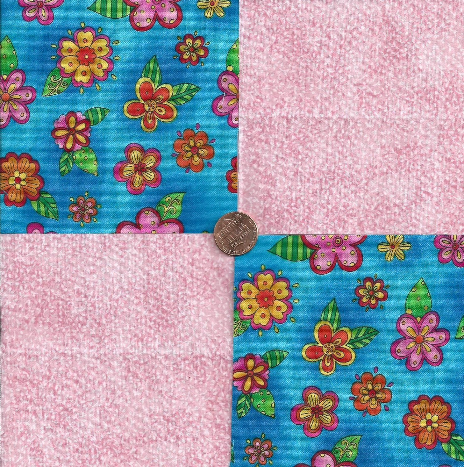 Colorful Flowers Pink Speckles 100% Cotton Fabric Quilt Square Blocks FT