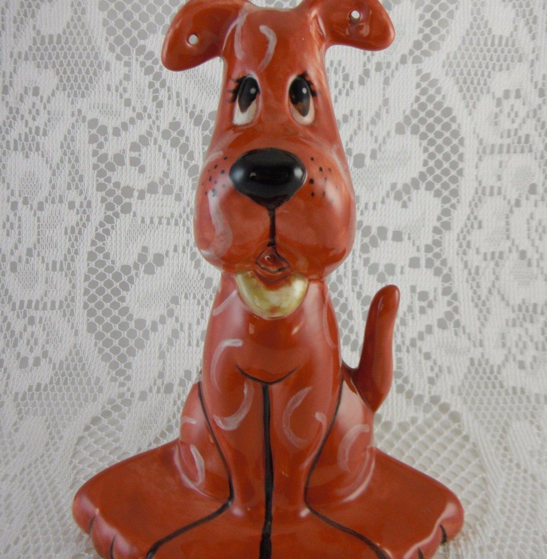 Ceramic Big Red Dog Figurine Statue Trinket Jewelry Holder Collectible tbllw1