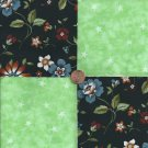 Flowers with Green Stars  4 inch Cotton Fabric Craft Quilt Squares  wz1