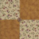 Flowers Sparkles  on Gold Glitter  4 inch 100% Cotton Novely Fabric  Squares FS2