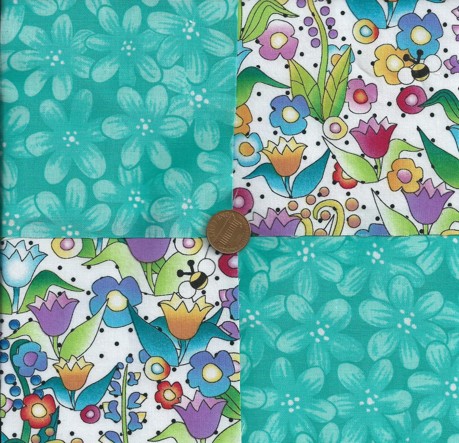 Bee Garden Up Close and Personal Cotton Fabric Craft Quilt Squares wz1
