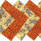 20 4 inch Spotted Little Sock Monkey Fabric Quilt Squares OSR5