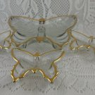 Vintage Glass Gold Trimmed Butterfly Shaped Candy Trinket Dishes Set 4 tblbs