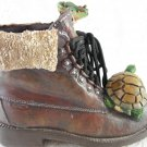 Resin Hiking Boot With Lacing Turtle and Frog Friends Sport Collectible tbllw1